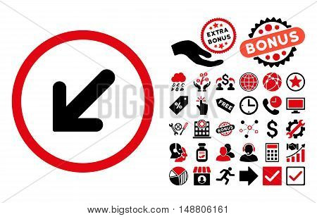 Arrow Left-Down pictograph with bonus icon set. Vector illustration style is flat iconic bicolor symbols, intensive red and black colors, white background.