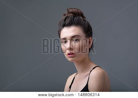 skin care concept, portrait of a beautiful relaxed girl with copy space