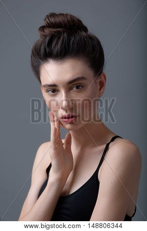 skin care concept, face of a relaxed woman with copy space