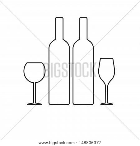 glass of white and red wine. icon. a bottle of wine. flat. vector illustration.