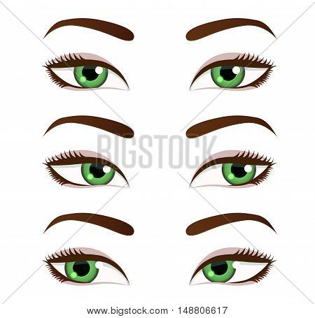 Eyes collection. Eyes look left. Eyes look right