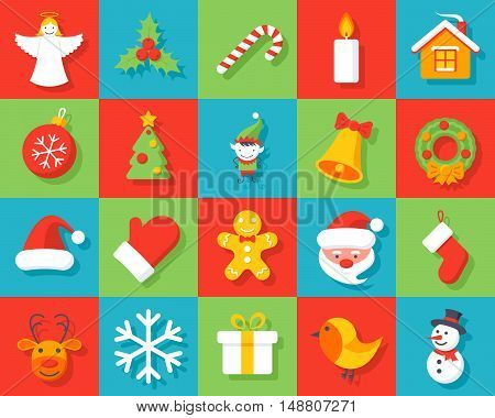 Set of christmas icons in flat style.