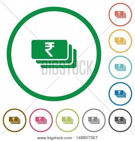Set of indian Rupee banknotes color round outlined flat icons on white background