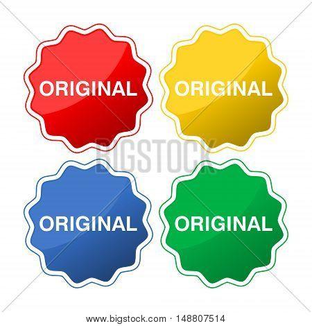 Original button icon set on white background