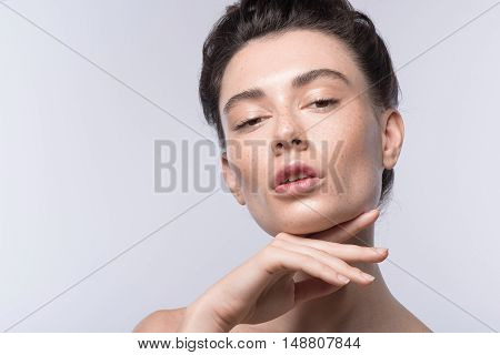 skin care concept, close up of a young woman relaxing