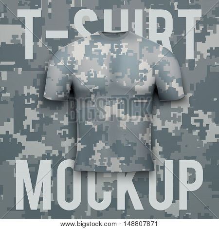 Camouflage t-shirt on digital pixel camo background. Front Product mockup and sample. Vector Illustration