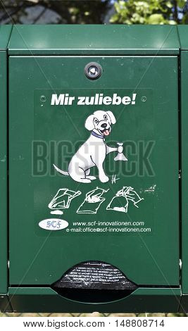 SPITZ, AUSTRIA - September 4, 2016: For My Sake - Pet waste station dispenser box in Spitz Austria