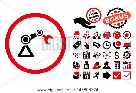 Artificial Manipulator icon with bonus pictograph collection. Vector illustration style is flat iconic bicolor symbols, intensive red and black colors, white background.