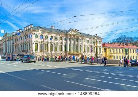 SAINT PETERSBURG RUSSIA - APRIL 25 2015: The Stroganov Palace is one of the oldest residences in city located at the bank of Moyka river in Nevsky Prospekt here houses the State Russian Museum on April 25 in Saint Petersburg.