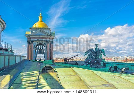The climb to the rooftop of St Isaac's Cathedral is the best way to discover the city from the height St Petersburg Russia.
