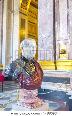 SAINT PETERSBURG RUSSIA - APRIL 25 2015: The bust of St Isaac's Cathedral' architector Auguste de Montferrand created from different types of stone and stands in prayer hall on April 25 in Saint Petersburg.