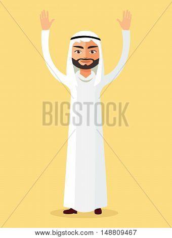 Emirate man stand waving her hands. Saudi arab man cartoon character raising hand up. Emirate man stand waving her hand.