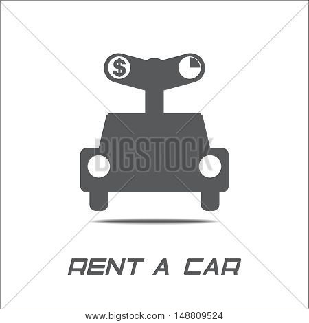 Rent a car logo key and car over white background rental automobile