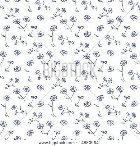 Vector floral seamless pattern with flowers and leaves. Elegant floral background.