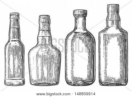 Set bottle for beer rum whiskey tequila. Vector engraved illustration isolated on white vintage background.