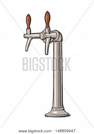Beer tap. Vector vintage flat illustration isolated on white background