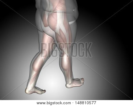 Concept or conceptual 3D illustration fat overweight vs slim fit diet with muscles young man gray gradient background