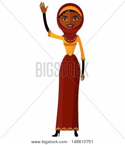Muslim young lady waving her hand. Businesswoman.