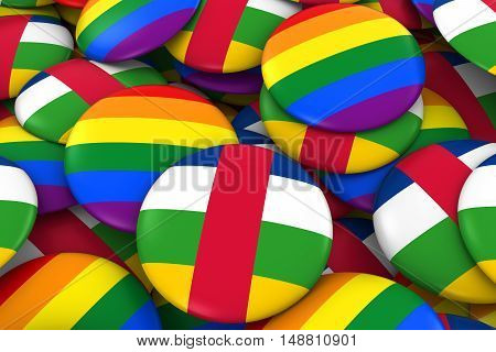 Central African Republic Gay Rights Concept - Central African Flag And Gay Pride Badges 3D Illustrat