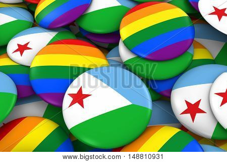 Djibouti Gay Rights Concept - Djiboutian Flag And Gay Pride Badges 3D Illustration