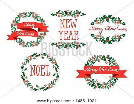 Vector Illustration Set of winter christmas wreaths, design elements