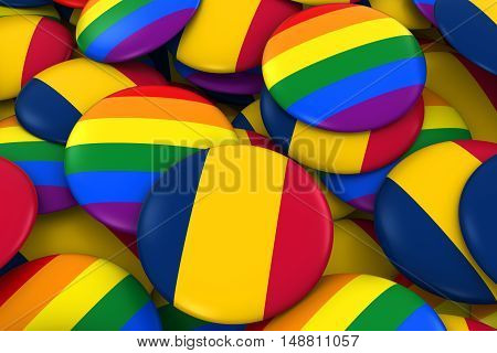 Chad Gay Rights Concept - Chadian Flag And Gay Pride Badges 3D Illustration