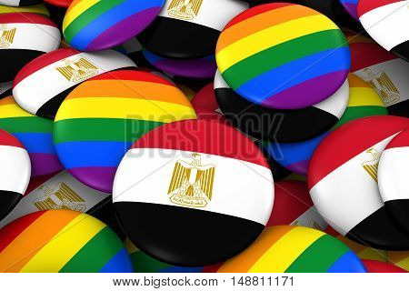 Egypt Gay Rights Concept - Egyptian Flag And Gay Pride Badges 3D Illustration
