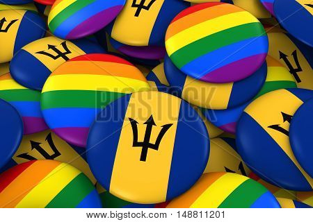 Barbados Gay Rights Concept - Barbadian Flag And Gay Pride Badges 3D Illustration