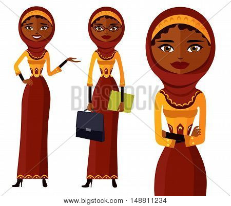 The beautiful Muslim woman in a hijab. arab people character flat cartoon vector illustration. Eps10. Isolated on a white background.