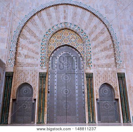 Doorway at the famous Hassan II mosque in Casablanca Morocco