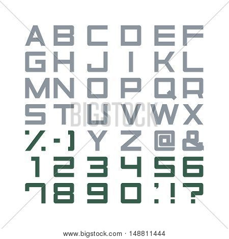Alphabet Set abc punctuation marks isolated font