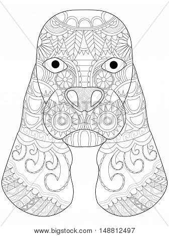 Dog head coloring book for adults vector illustration. Anti-stress coloring for adult. Zentangle style Cocker Spaniel. Black and white lines. Lace pattern