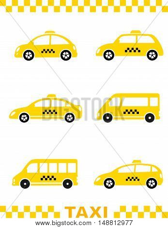 Set Of Taxi Car And Stripe