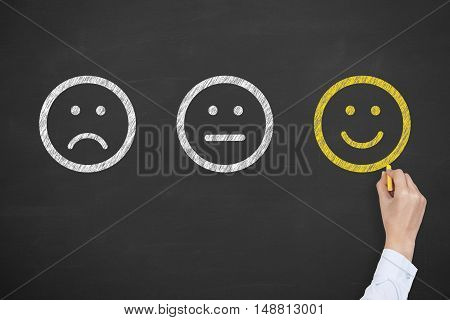 Hand drawing unhappy and happy smileys on chalkboard background Working Conceptual Business Concept