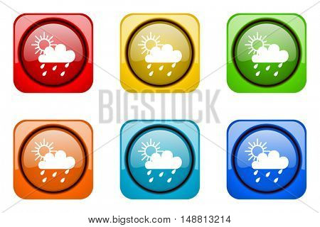 rain colorful web icons