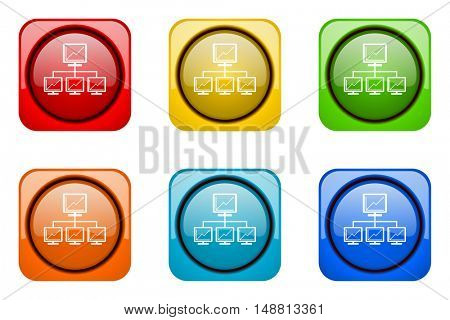 network colorful web icons