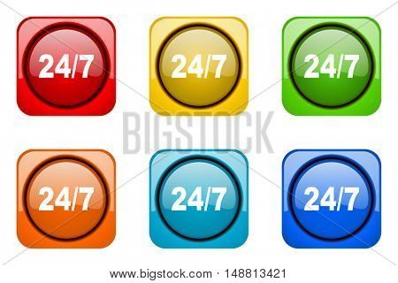24/7 colorful web icons