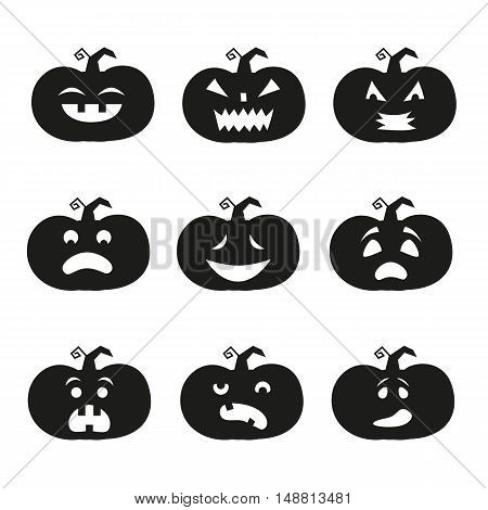 Cartoon halloween pumpkin icons on the white background.