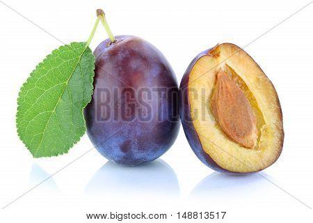 Plums Plum Prunes Prune Fresh Fruit Isolated On White
