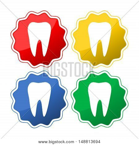 Tooth Icon set four buttons on white background