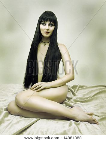 Fashion Portrait Of Nude Woman In Bed