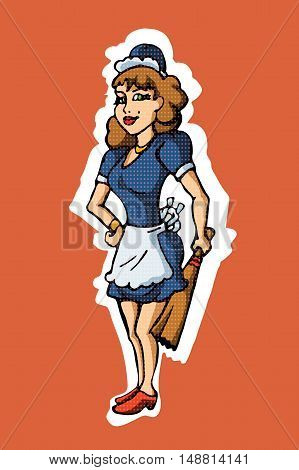 Vintage garage retro poster. woman in an apron. vector illustration EPS10