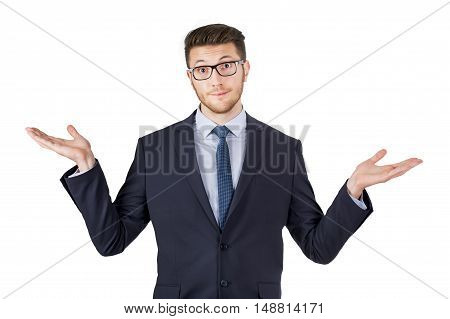 Business Man Shrugging his Shoulders Working Conceptual Business Concept