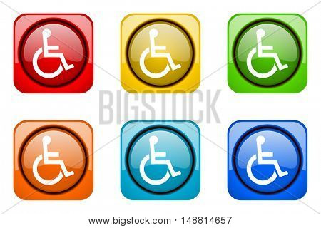 wheelchair colorful web icons