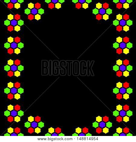 Abstract pattern stained-glass mosaic colorful bright border frame background. In red yellow green violet and black colours. With space for text. Can be used for invitations menu poster or greeting cards. Vector illustration eps 10