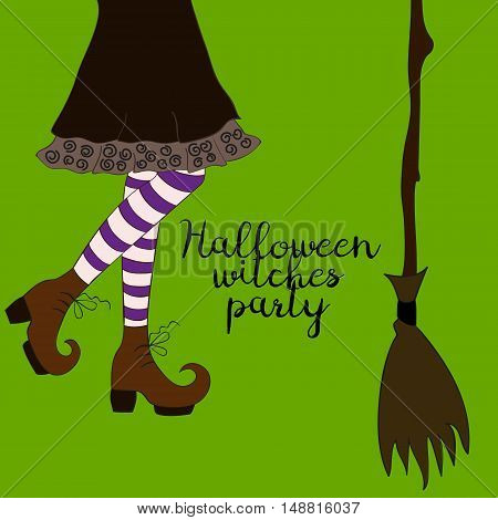 Halloween cartoon witch legs in boots and with broomstick.