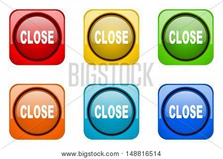 close colorful web icons