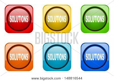 solutions colorful web icons