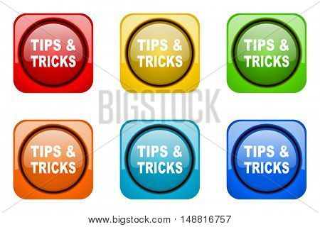 tips tricks colorful web icons