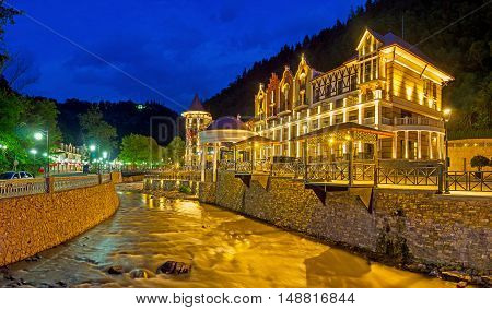 The evening is the best time to enjoy the beauty of Borjomi its architecture fresh air unique nature of Caucasus mountains Georgia.